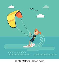 Kitesurfing Vector Concept in Flat Design - Kitesurfing...