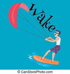 kitesurfing water extreme sports, isolated design element...