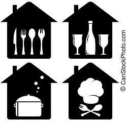kithen, utencil, conjunto, icono, hogar