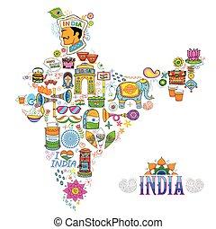 kitsch, arte, de, índia, mapa