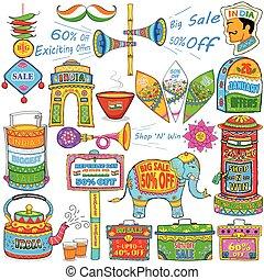 kitsch, arte, de, índia, mostrando, venda, e, promoção