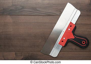 kitt, handtag, kniv, röd