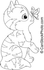 kitten and butterfly coloring page - The cute kitten looking...