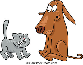 Kitten and dog - Cartoon illustration of angry kitten and...