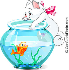 A vector illustration of a cute kitten tries to catch gold fish