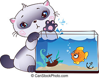 Kitten and fish - This image is a vector illustration and ...