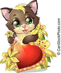 kitten and heartkitten with heart among the flowers, on a...