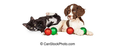 Kitten and Puppy Playing With Christmas Bulbs Banner