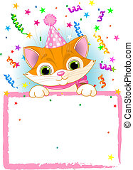 Adorable Kitten Wearing A Party Hat, Looking Over A Blank Starry Sign With Colorful Confetti