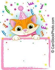 Kitten Birthday - Adorable Kitten Wearing A Party Hat,...