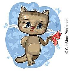Kitten. Cartoon style. Young cub. Vector. Cute baby.