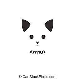 Kitten face design logo