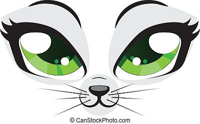 Kitten face - Cute cartoon kitten face with green eyes on...