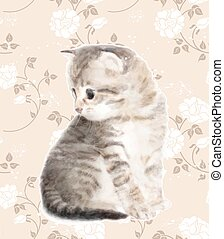 Kitten.  Imitation of watercolor painting.