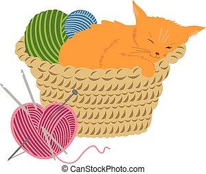 Sleeping orange kitten in a basket with knitting balls