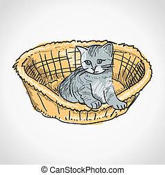 Kitten in Basket - Small furry kitten inside brown basket...