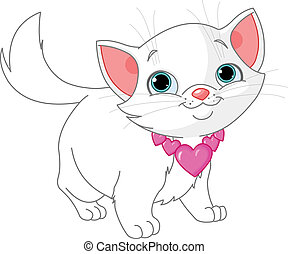 Kitten in love - Adorable white kitten with collar made from...