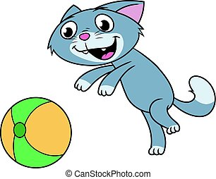 Kitten is playing with ball