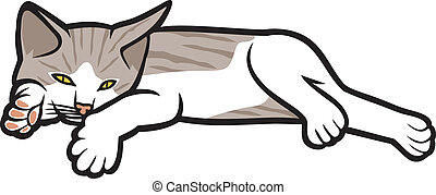 kitten lying on a white background (illustration of a cat,...