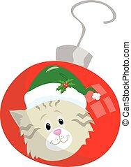 Kitten on red Christmas ornament