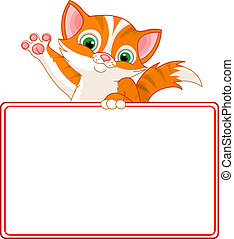 Kitten Place Card - Adorable Kitten Looking Over A Blank ...