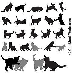 Kitten silhouettes - Vector set of kitten silhouettes.