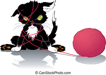 Kitten with a ball of thread