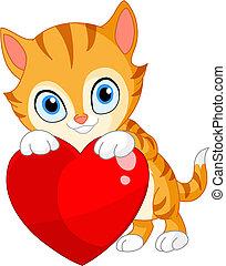 Kitten with heart valentine