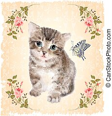 kitten with roses and butterfly