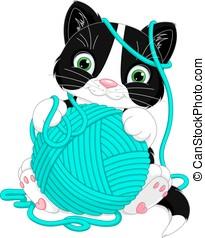 Kitten with yarn ball - Cheerful kitten playing with yarn...