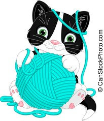 Kitten with yarn ball - Cheerful kitten playing with yarn...