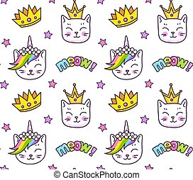 Kittens and golden crowns, meow inscriptions. Seamless pattern for children, babies, kids.
