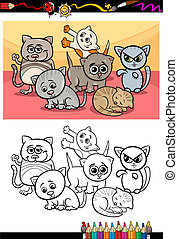 kittens group cartoon coloring book
