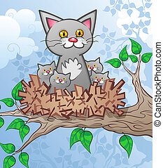 Kittens in a Bird Nest Cartoon - A mother cat and her...