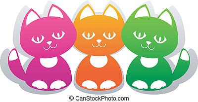 Kittens - Three cute cartoon kitten isolated on white. EPS...