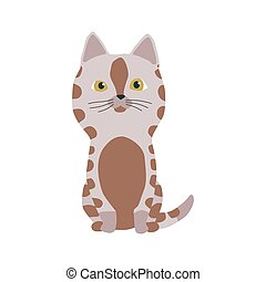 kittie, fourrure, illustrations., vecteur, chat, mignon, ou, coloré, dessin animé