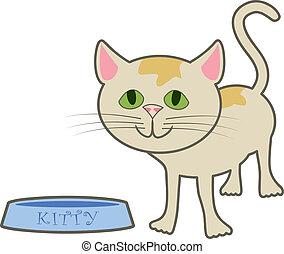 Kitty At Food Dish - A cartoon kitty standing near its food ...