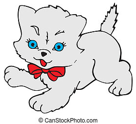 Kitty Cat - Drawing of a small Persian cat wearing a red...