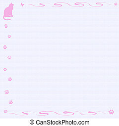 kitty cat scrapbook - pink cat and vines frame blue lined...