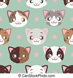 Kitty face seamless background