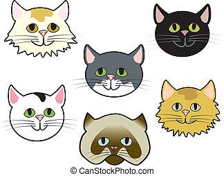 Six cute cartoon cat faces of various breeds.