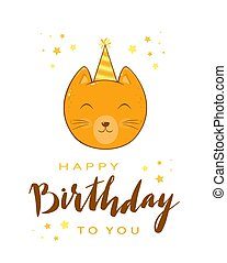 Kitty Head with Lettering Happy Birthday