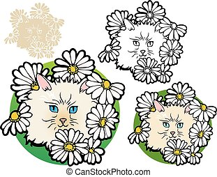 cute cat lurking among daisies, with variations