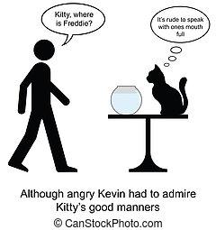 Kitty lunch - Kevin found Kitty eating Freddie cartoon ...