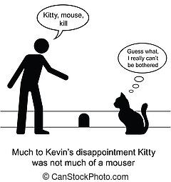Kevin found Kitty was not much of a mouser cartoon isolated on white background