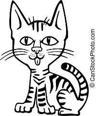 Kitty - Vector illustration of a cute tabby kitten sitting