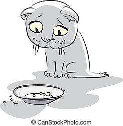 kitty., wektor, głodny, ilustracja