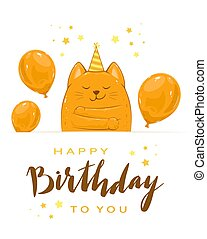 Kitty with Balloons and Lettering Happy Birthday