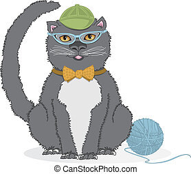 Kitty with CatEye Glasses - Vector art in Illustrator 8. A...