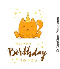 Kitty with Lettering Happy Birthday